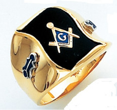 HOM505BL FLAG SHAPED FACE GOLD MASONIC BLUE LODGE RING WITH CHOICE OF STONE COLOUR