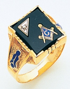LARGE SQUARE FACED GOLD BLUE LODGE MASONIC RING WITH STONE COLOUR CHOICE WITH SIDE EMBLEMS MAS72021BL