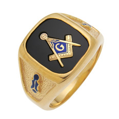 LARGE SQUARE FACED GOLD BLUE LODGE MASONIC RING WITH STONE COLOUR CHOICE WITH SIDE EMBLEMS MAS60987BL