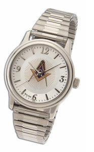 MASONIC LODGE WATCH WITH STAINLESS STEEL EXPANSION STRAP-42