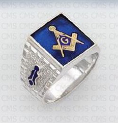 SQUARE STERLING SILVER BLUE LODGE MASONIC RING WITH BLUE STONE AND SYMBOLS MASCJ597
