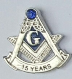 Masonic 15 year lapel pin