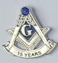 Masonic 15 year lapel pin