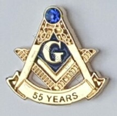 Masonic 55 Year Membership Lapel Pin