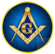 Car Decal  Gold Square and Compass on Royal Blue     Traditional