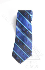 Masonic Tie  Blue Striped With Working Tool Design