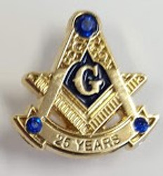 Masonic Anniversary  25 Year Lapel Pin Gold
