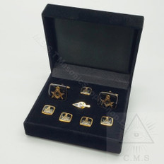 Masonic Cuff link and Stud set with Trowel