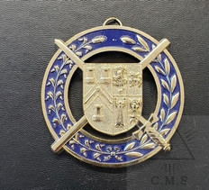 Grand Pursuivant   Collar Jewel   Coat of Arms with  Crossed Baton and Sword  Blue
