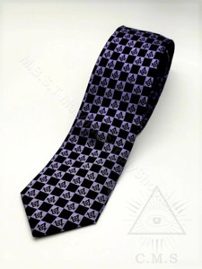 Masonic Purple & Black 100% Silk Tie  with Square & Compass design    slimline  3 inch wide