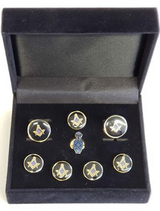 Masonic Cuff link and Stud set with Slipper lapel Pin