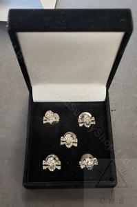 Silver  Skull & Crossed Bone Shirt Studs     set of five