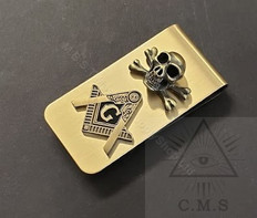 Masonic Money Clip with Raised Square and Compass plus Skull & Bones design