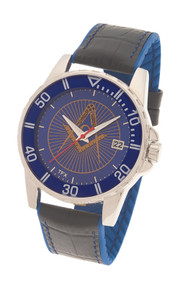 MASONIC LODGE WATCH MINERAL GLASS CRYSTAL BLACK-BLUE LEATHER STRAP-16