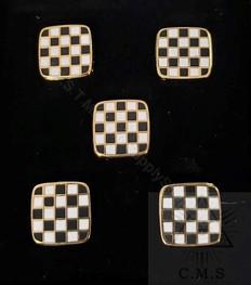 Masonic Shirt Studs  Black & White Pavement    set of five