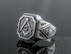 Silver  Masonic Ring  Square & Compass  with All Seeing Eye