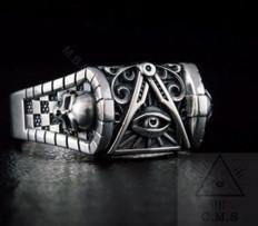 Masonic All Seeing eye Silver ring