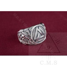 Valkunt with Mammen Ornaments  Norse Silver  Ring