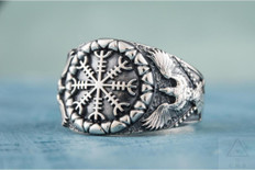 Helm of Awe with Ravens      Norse Silver  Ring