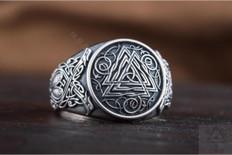 Valknut Symbol Viking  Silver  Ring