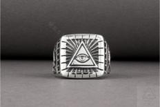 Masonic Silver ring   All Seeing Eye
