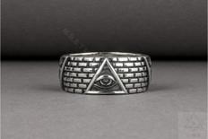 Masonic Silver Band Ring