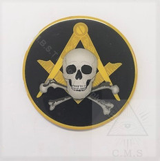 Car Decal  Square and Compass with Skull & Crossed Bone