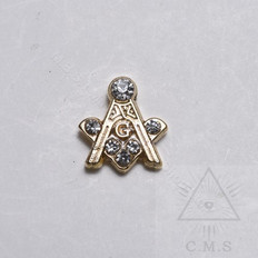Lapel pin Square and Compass with G and Jewels 15mm 1/2 in
