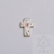 Rose Cross lapel pin