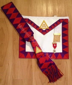 Royal Arch Companion Apron,Sash and Jewel Set  Red Diamonds on Sash
