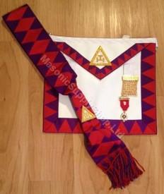 Royal Arch Companion Apron,Sash and Jewel Set  Red Diamonds on Sash