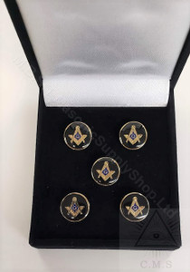 Masonic Shirt Studs  Round with S & C with G    Set of  Five