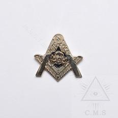 Lapel pin Square & Compass with  Skull & Crossed Bones