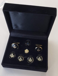 Round Masonic Cuff links & Button Cover set