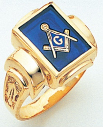 SQUARE FACE GOLD MASONIC BLUE LODGE RING WITH CHOICE OF STONE COLOUR AND SIDE EMBLEMS GLCS434MSBL
