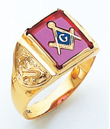 SQUARE FACE GOLD MASONIC BLUE LODGE RING WITH CHOICE OF STONE COLOUR AND SIDE EMBLEMS HOM264BL