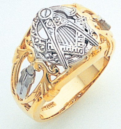 f60507d8db1ae GOLD MASONIC BLUE LODGE RING WITH SIDE EMBLEMS AND WHITE GOLD DETAILING  GLC607BL