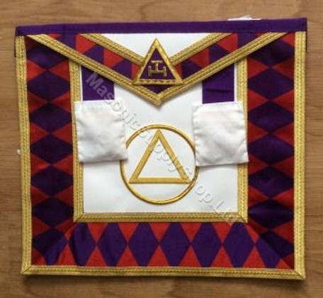 Royal Arch Grand Chapter Apron with Circle No Fringe Purple Diamonds  APR-RA-GC-C-P