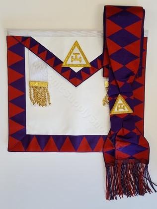Royal Arch Companion Apron and Sash  Set    Purple Diamonds on  Sash