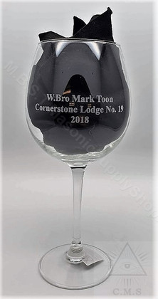 Custom  Engraved Masonic  Wine Glass