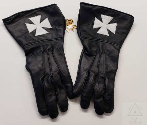 Knights of Malta  Black Leather Gloves  White Cross