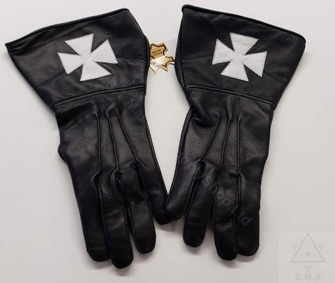 Knights of Malta  Black Leather Gloves  White Cross