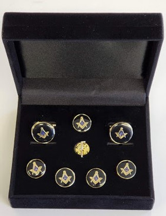 Masonic Cuff link and Stud set with Tobal Cain lapel Pin