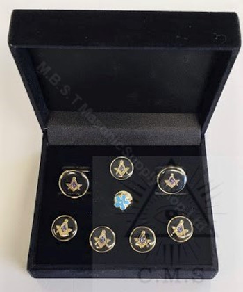 Round Masonic  Cuff link and  5 Stud set Square and Compass with  Lapel Pin (Forget Me Not)