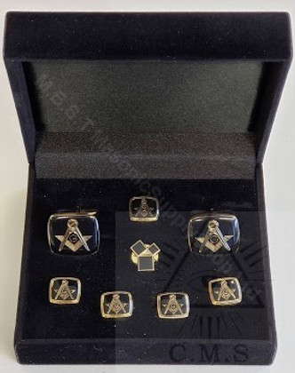 Square  Masonic  Cuff Link and Stud set Plus  Lapel Pin( P.M Symbol 47th)