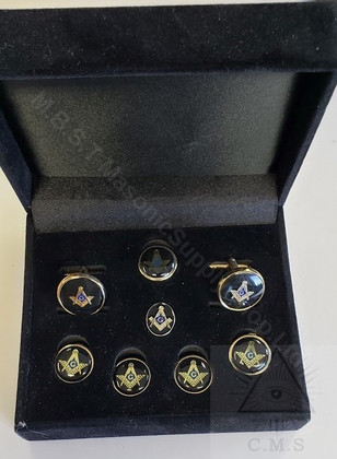 Round Masonic  Cuff link and  5 Stud set Square and Compass