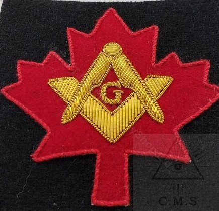 Masonic  Badges Square and Compass on Maple Leaf