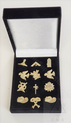 Presentation Box of Masonic Officers Lapel Pins