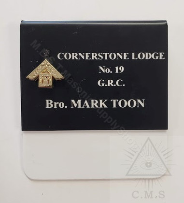 Deluxe  Past Masters Name Badge with  Raised Metal 47th Problem of Euclid Emblem