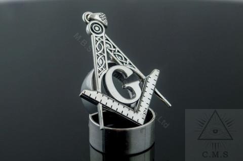 Silver Pendant  Traditional Square & Compass   design